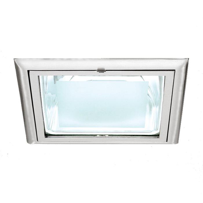 Lampenlux Einbaustrahler Spot Rika eckig Nickel 23.1x23.1cm IP40 Aluminium Punktstrahler, Spot, Downlight Deckenlampe