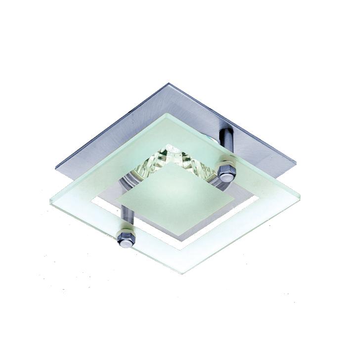 Lampenlux Einbaustrahler Spot Sato Glas rostfrei chrom 7.5x7.5 cm GU10 230VEinbauleuchte Einbaulampe Einbauspot Spot Strahler Punktstrahler Aluminium Downlight Down Deckeneinbaustrahler Deckeneinbauleuchte