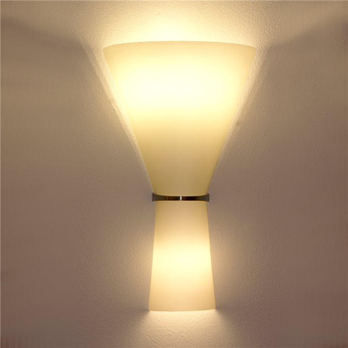 Lampenlux LED Wandlampe Alan Effektlampe Glas Up Down Weiß Chrom Badleuchte Deko