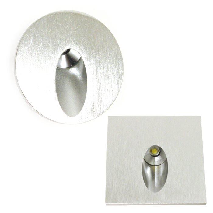 Lampenlux High Power LED Aussenleuchte Einbaustrahler IP54 Reika Spot Rund Eckig Aluminium Silber 7cm 230V mit Unterputzdose