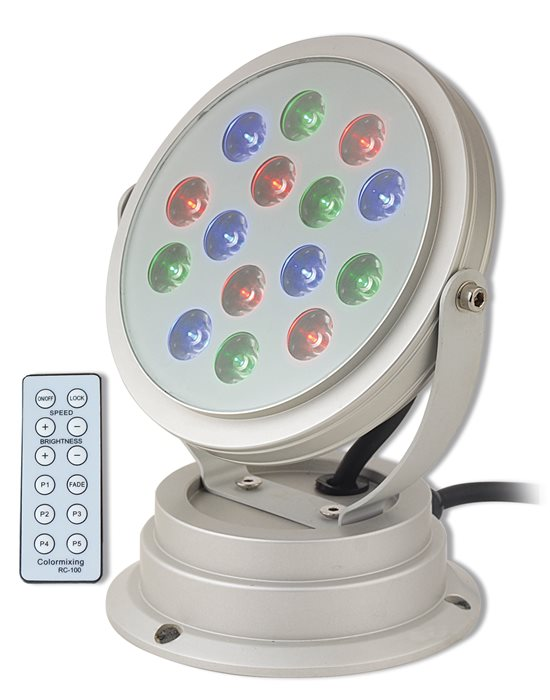 Lampenlux LED RGB Aussenstrahler Amor Wegeleuchte Fluter Alu mit Fernbedienung Gartenlampe