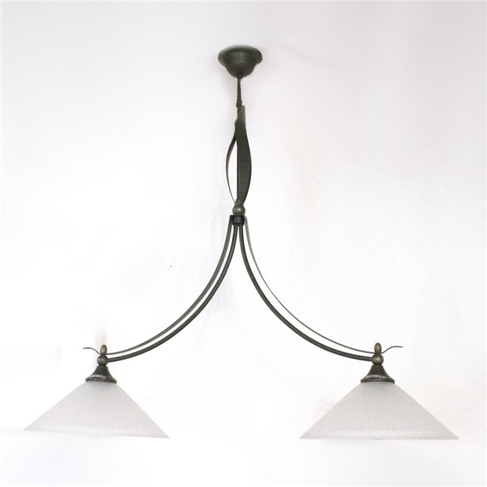 Lampenlux Pendellampe Hängeleuchte Zusa Landhaus Rustikal Luster Grün-Bronze 2 Flammig Glas weiß Antik