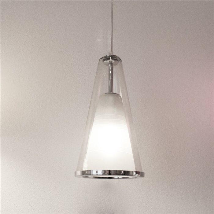 Lampenlux LED Pendelleuchte Bajo Hängeleuchte Glas Chromring Weiß Opal Höhenverstellbar