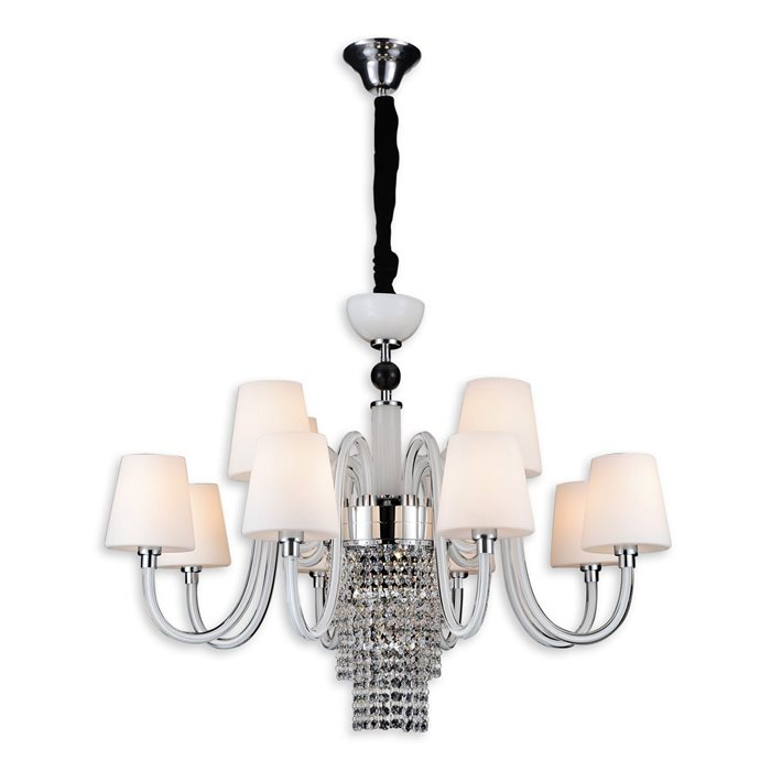 Lampenlux LED Pendelleuchte Baran Chrom Hängeleuchte Glasschirm Kristall Lüster 12 flammig