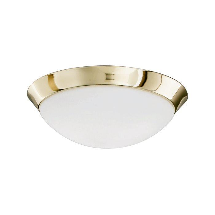 Lampenlux LED Deckenleuchte Dodo IP44 230V Deckenlampe Badlampe Rund Glas Fassung E27 Ø40cm Terasse Gold Badezimmer Flur