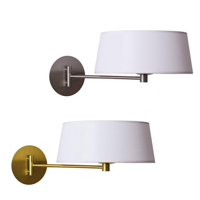 Lampenlux LED Wandlampe Guido Bettlampe Weiß Stofflampe Stoffleuchte Gold Nickel Leseleuchte Leselicht Schalter Wandleuchte