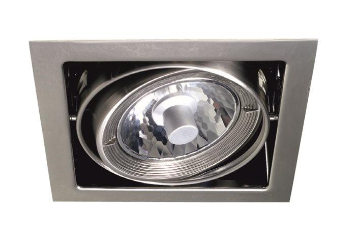 Lampenlux Deckeneinbauleuchte Rhona Shopbeleuchtung QR111 eckig dreh- und schwenkbar Aluminium