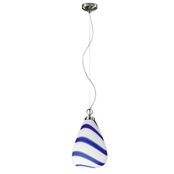 Lampenlux Pendellampe Bolko E27 Gold Hängeleuchte Glasschirm Weiß/Blau