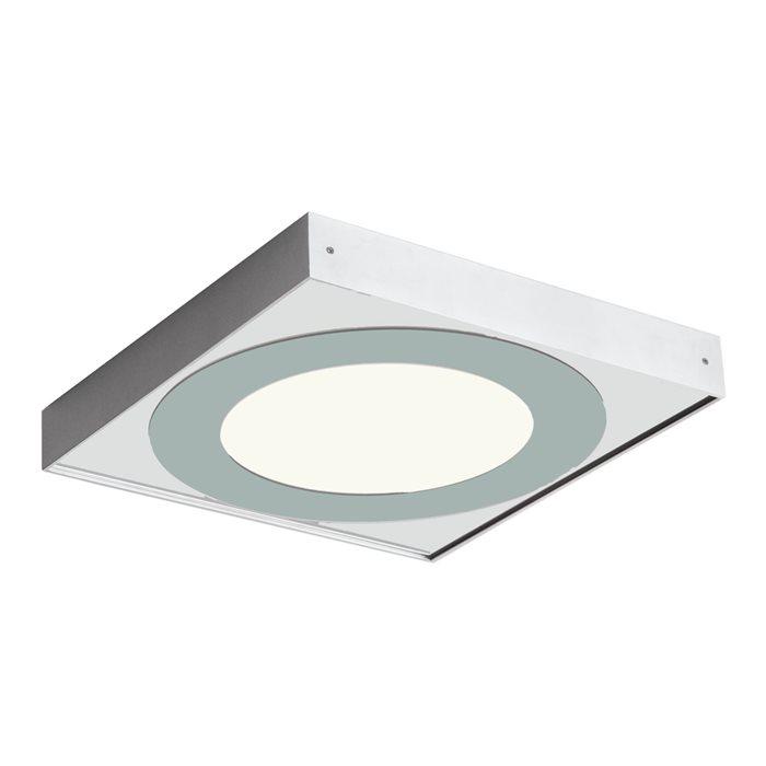 Lampenlux Deckenlampe Deckenleuchte Funia mit Spiegelglas eckig silber T5