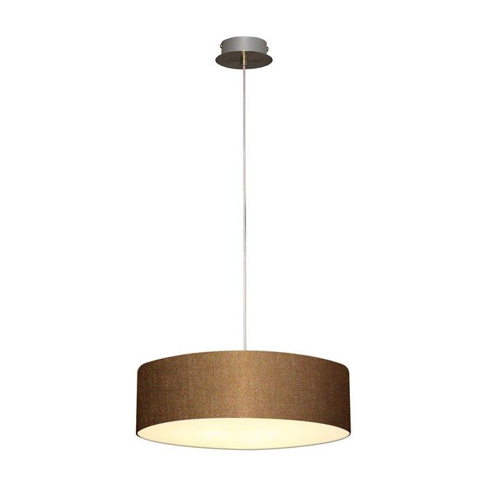 Lampenlux LED Pendellampe Pendelleuchte Bango Stoffschirm Dunkelbraun Montur Silber Ø35 cm
