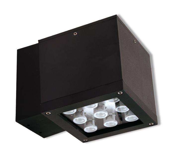 Lampenlux LED Aussenleuchte Egos Wandlampe Schwarz Eckig 9W Downlight Strahler 230V IP44